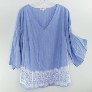 JANE AND DELANCEY Pinstripe Blouse Flare Sleeve 1X